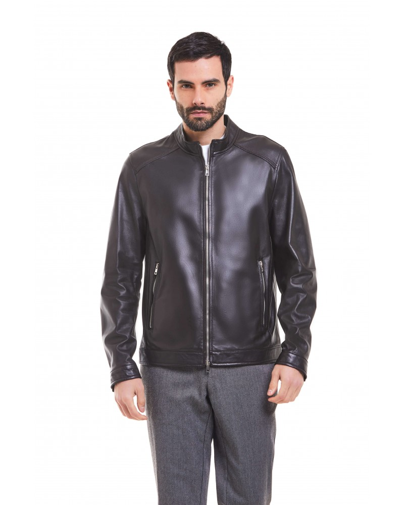 MAGLIE - PLONGE' LEATHER BIKER JACKET - 4