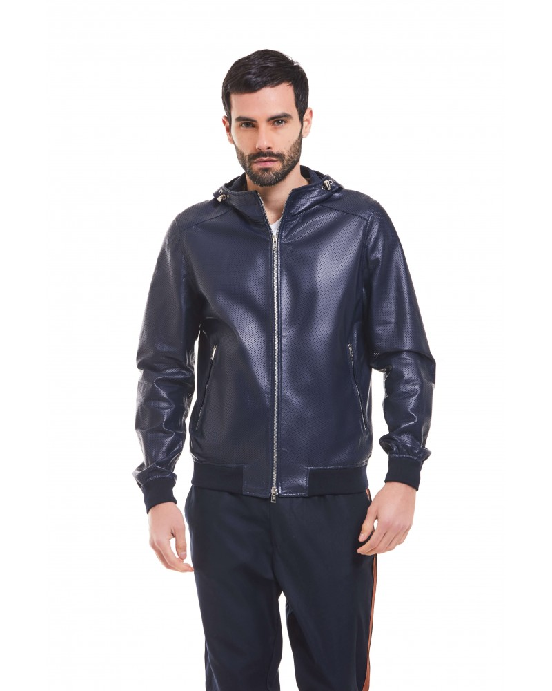 OSTUNI - PERFORATED PLONGE' LEATHER HOODED BLOUSON - 1