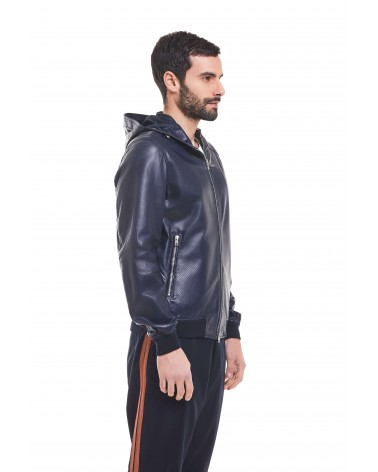 OSTUNI - PERFORATED PLONGE' LEATHER HOODED BLOUSON - 2
