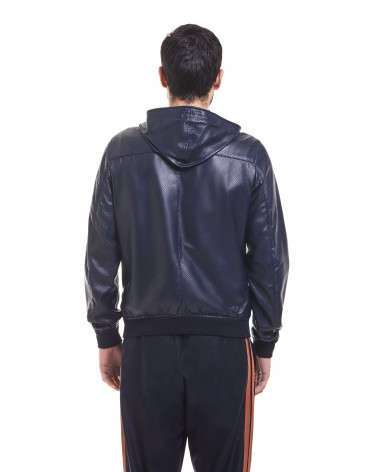 OSTUNI - PERFORATED PLONGE' LEATHER HOODED BLOUSON - 3