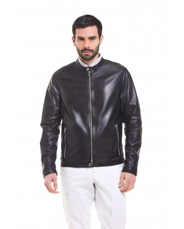 OTRANTO - PLONGE' LEATHER BIKER JACKET - 4