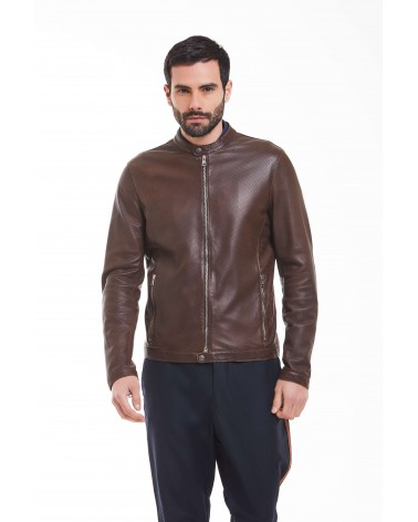 OTRANTO - PEFORATED PLONGE' LEATHER BIKER JACKET - 1