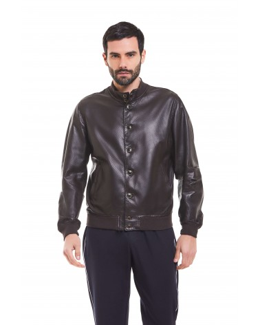 RODI - PERFORATED PLONGE' LEATHER BOMBER JACKET - 7